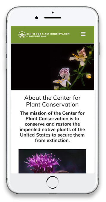 Center for Plant Conservation website update on mobile