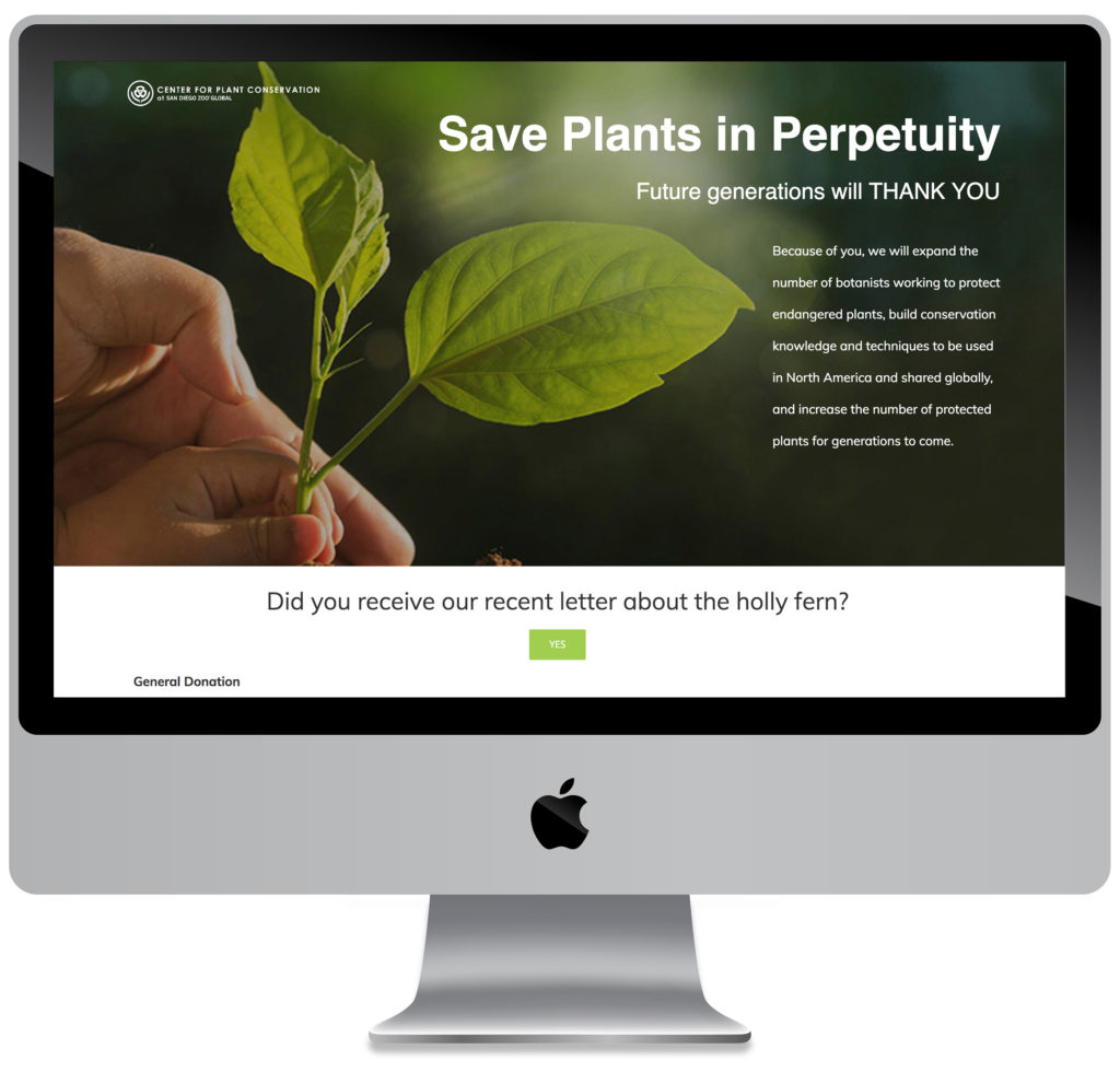 screenshot of Center for Plant Conservation website