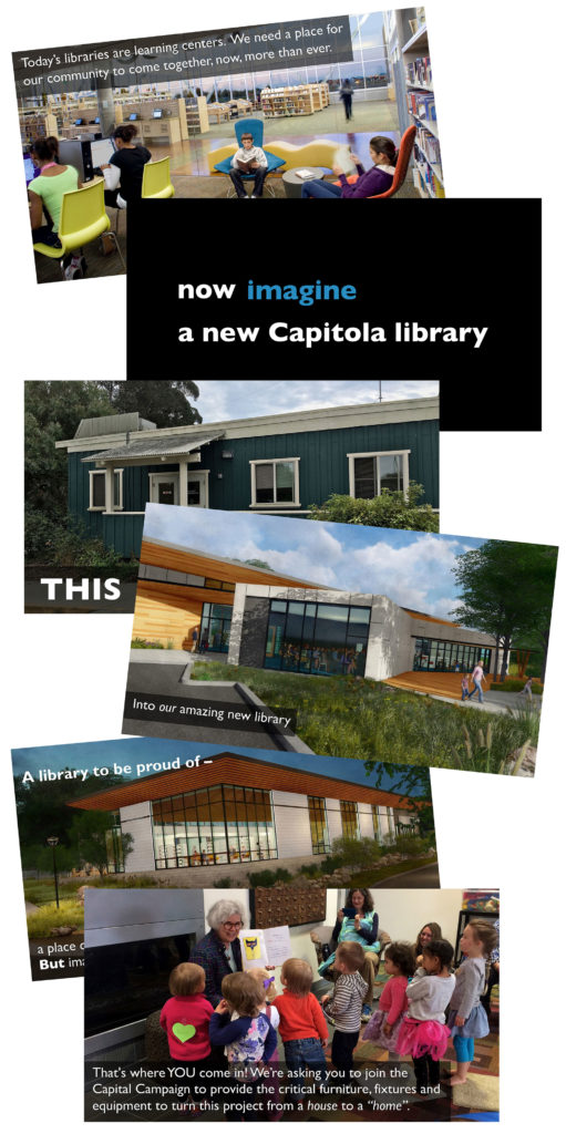 screenshots from the Friends of the Capitola Branch Library donor presentation