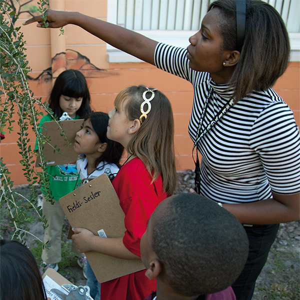 photo of teacher giving a lesson outdoors to diverse group of students