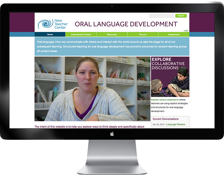 screenshot of New Teacher Center Oral Language Development website