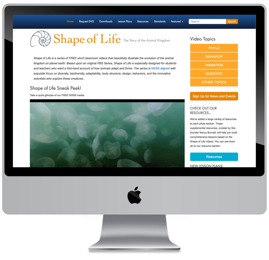 screenshot of Shape of Life website