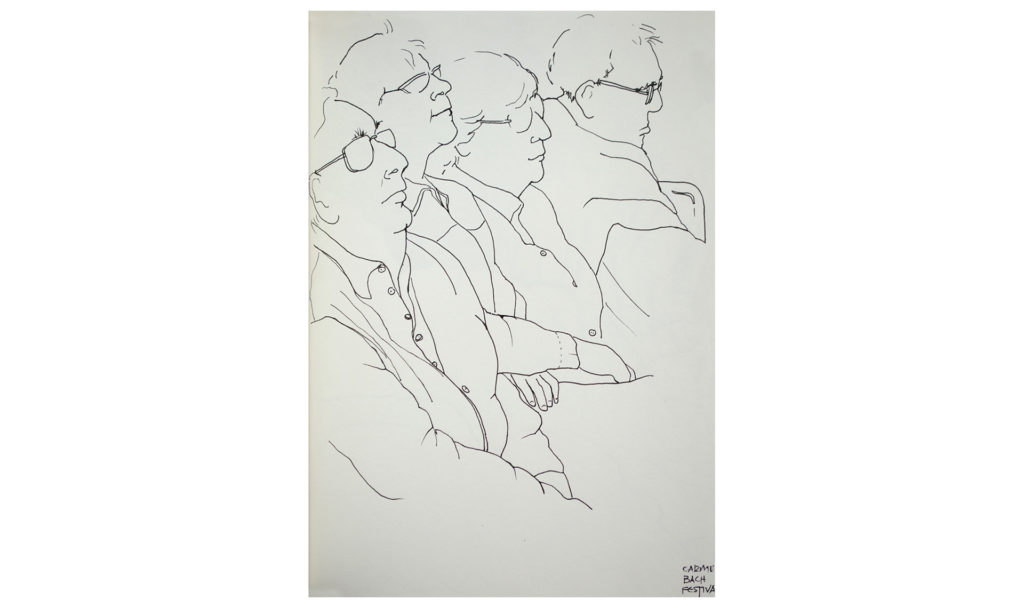 pen and ink drawing of the audience at the Carmel Bach Festival