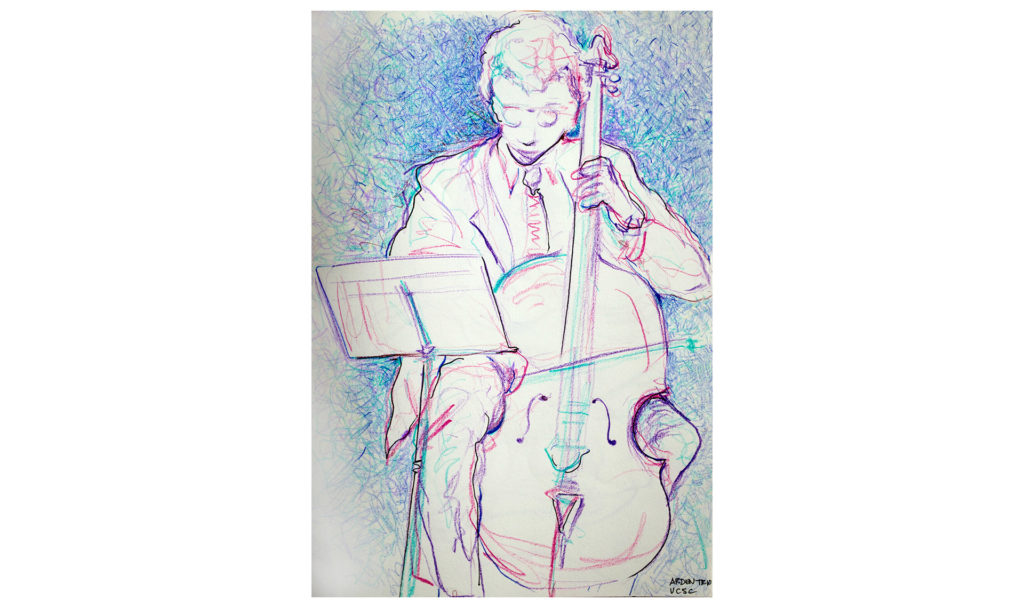 Colored pencil drawing of a man playing cello