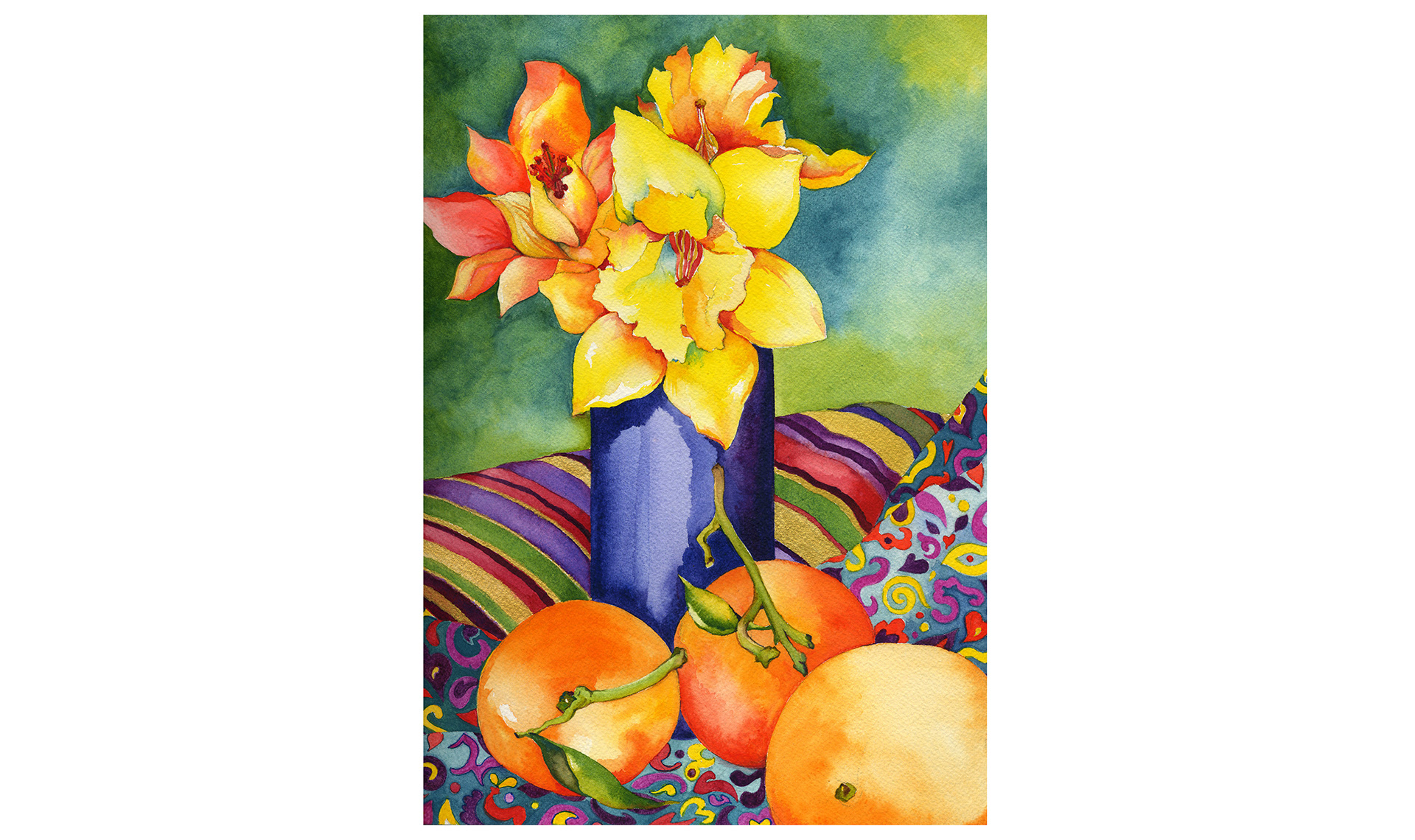 Watercolor painting of daffodils and oranges on colorful print cloth