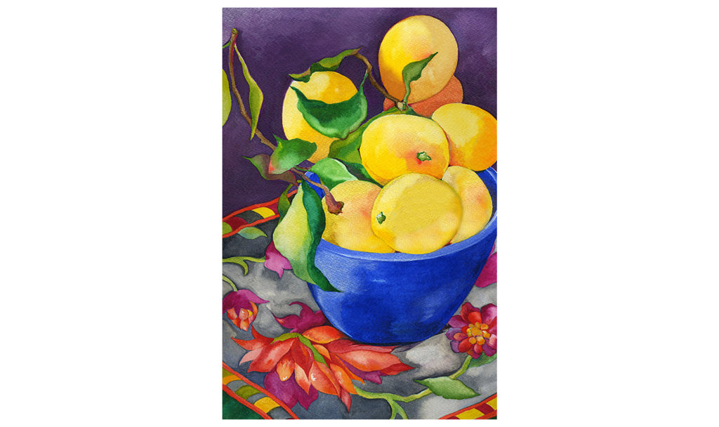 Watercolor painting of a bowl of lemons in a cobalt blue bowl on a flowered tablecloth