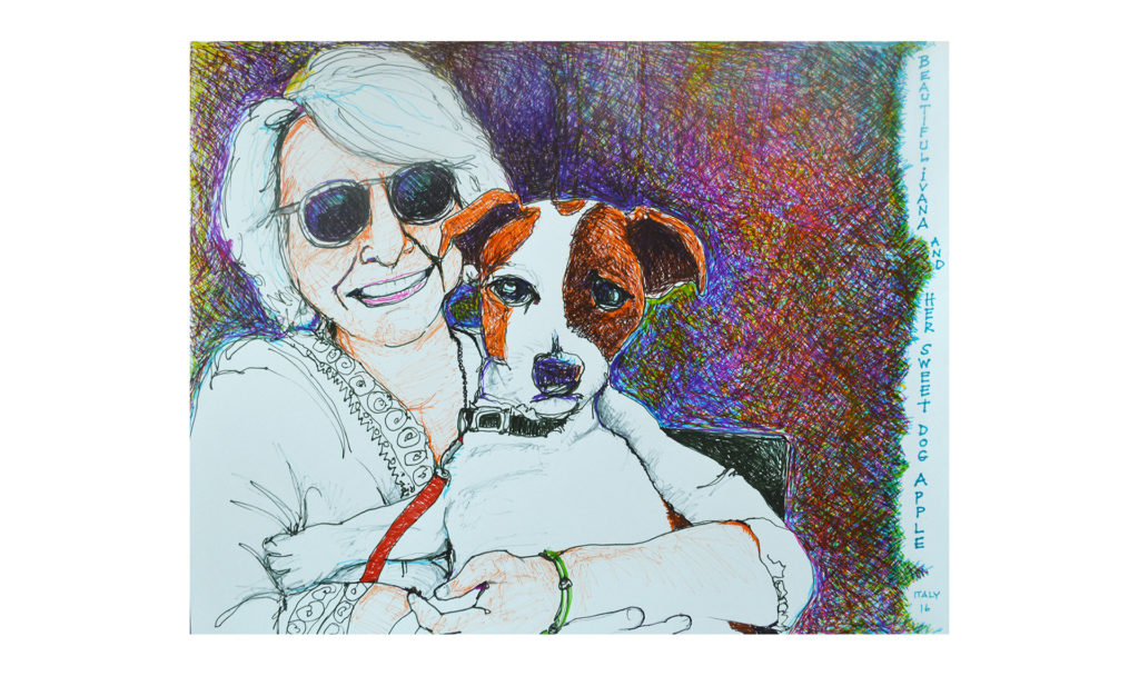 Beautiful Ivana and her sweet dog Apple drawing in colored pencil and pen