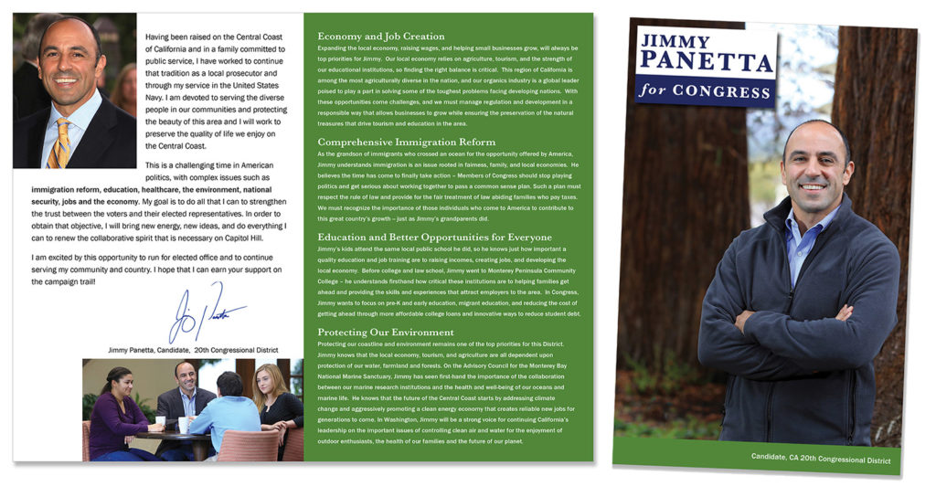 CA Congress member Jimmy Panetta brochure
