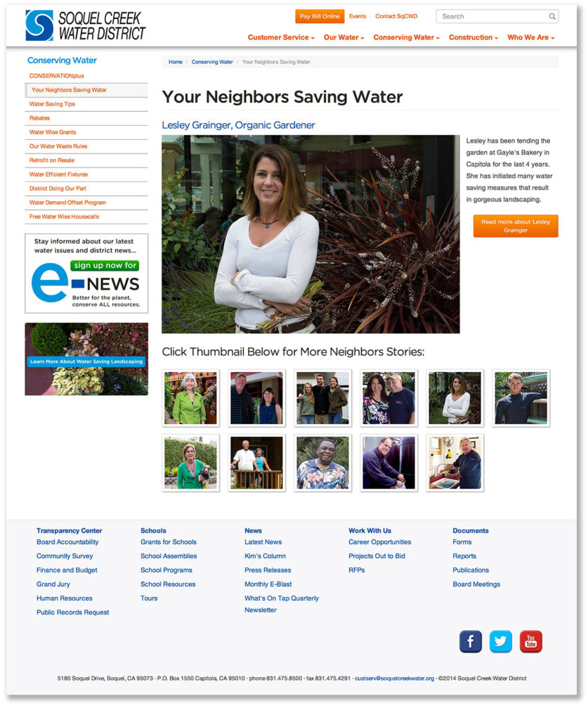 screenshot of Soquel Creek Water District website