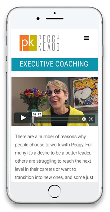 Executive coach and political consultant Peggy Klaus screenshot of mobile site