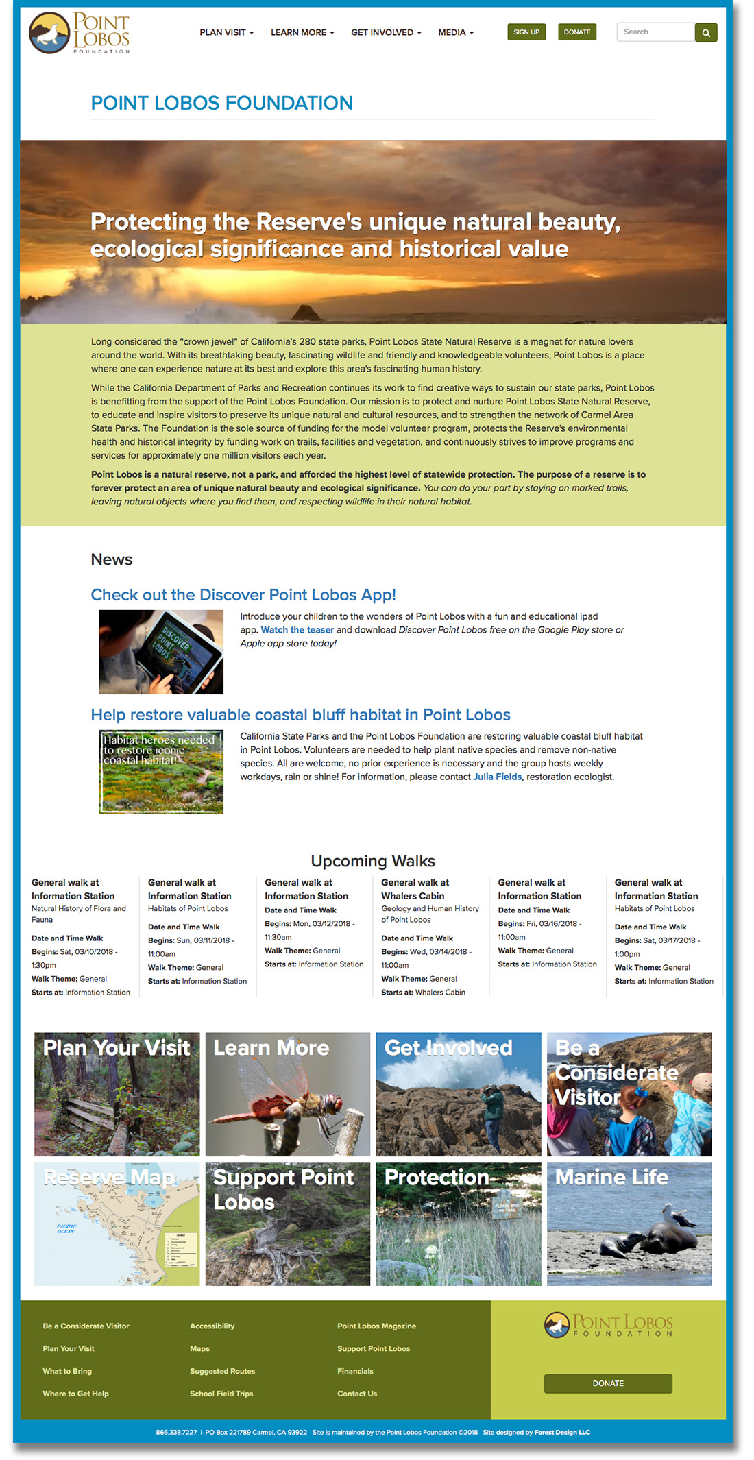 screenshot of Point Lobos Foundation website